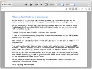Screen capture of NaturalReader with a document open.