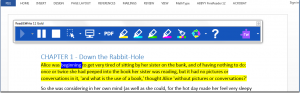 Screen capture of Read&Write Gold toolbar positioned above a Microsoft Word document.