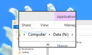 Screen capture of Virtual Magnifying Glass magnifying the menu bar of Windows Explorer.